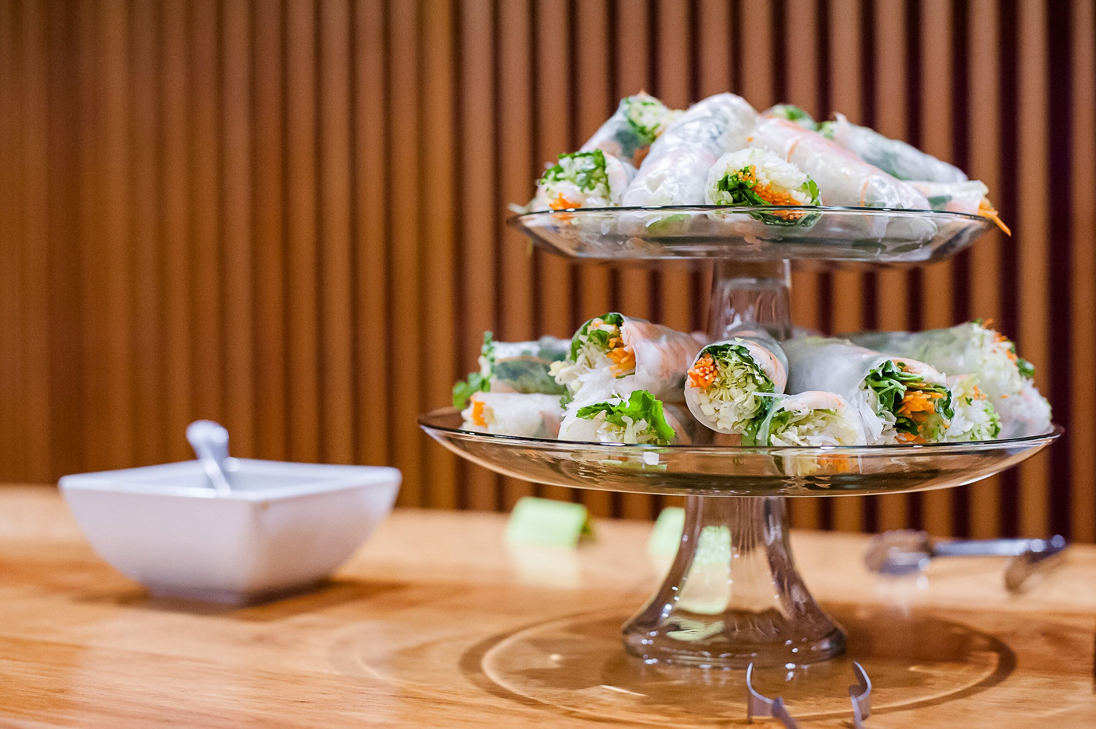 Spring rolls on a glass tray