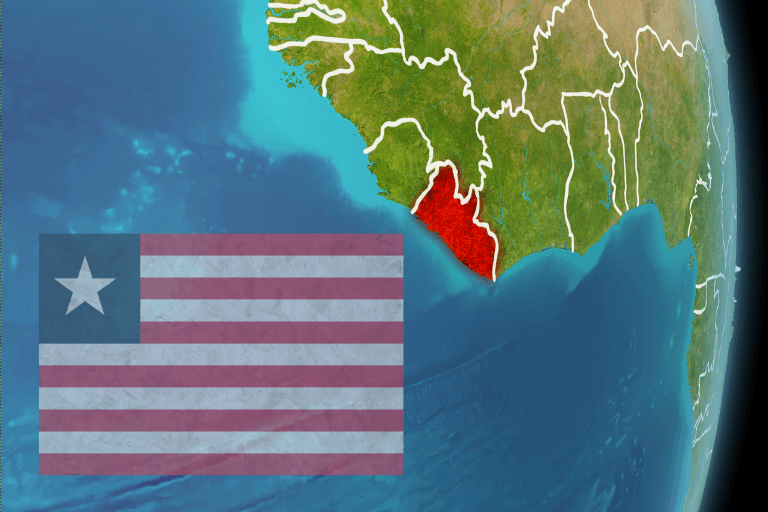 Liberia flag and country map of western Africa
