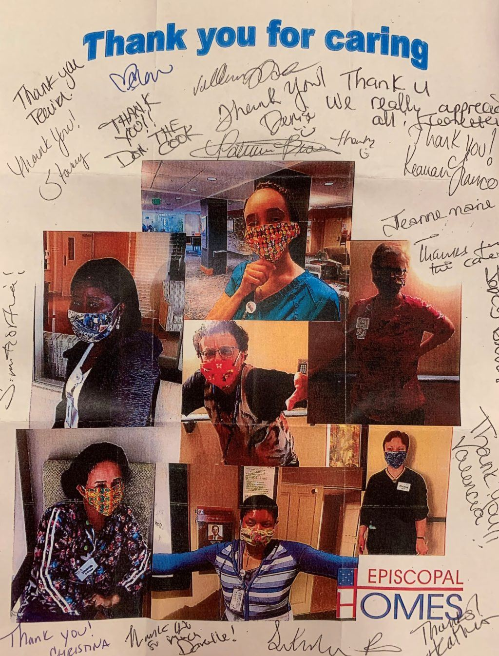 Thank you note signed by Episcopal Homes staff with photos of employees in masks made by volunteers