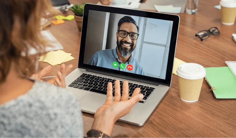 Virtual immigration assistance: video chat via laptop