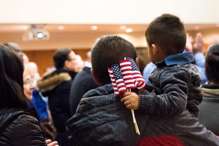 Naturalization ceremony, new citizens, at the International Institute of Minnesota