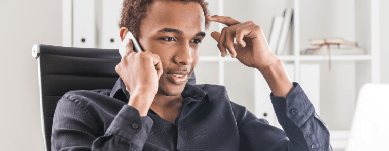 Man speaks on phone for LRIF application