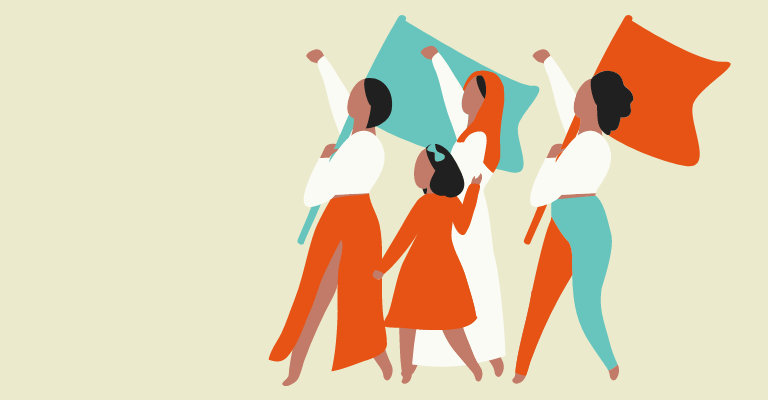 Illustration of women and girls marching together with flags - International Women's Day