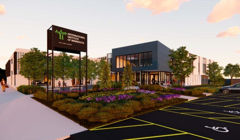 An artistic rendering of the future building.